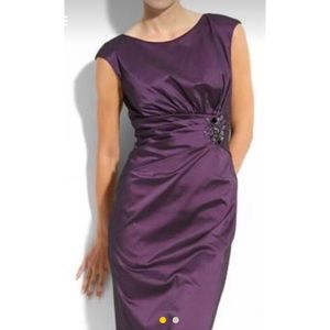 Beaded Side Pleat Taffeta Sheath Dress